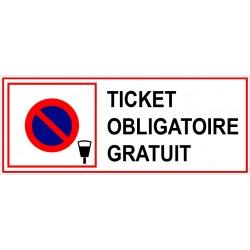 Panneau ticket de stationnement obligatoire gratuit