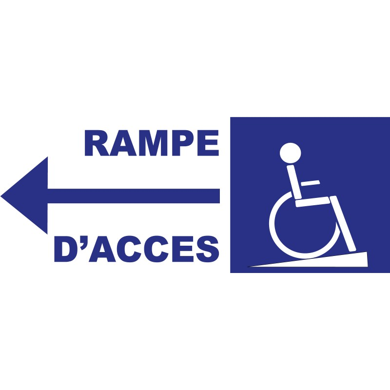 Panneau rampe d 39 acc s handicap s direction gauche for Rampe d acces handicape