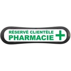 """Plaque d'identification de place de parking """"Réservé Clientèle Pharmacie"""""""