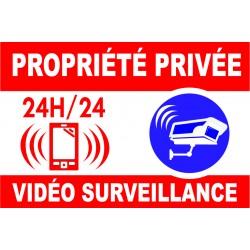 Panneau propriété privée vidéo surveillance 24h/24