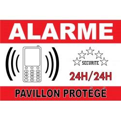 """Panneau """"alarme pavillon protégé"""""""