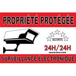 """Panneau """"propriété protégée surveillance électronique"""""""""""