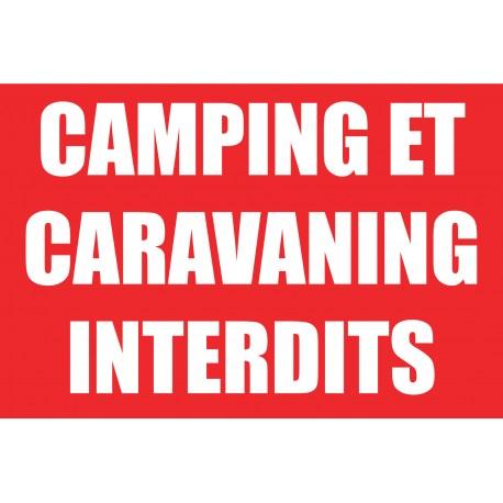 Panneau camping et caravaning interdits