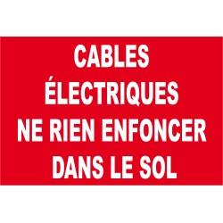 Panneau cables électrique ne rien enfoncer dans le sol