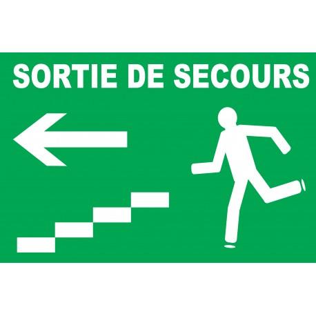 Panneau sortie de secours à gauche avec escaliers