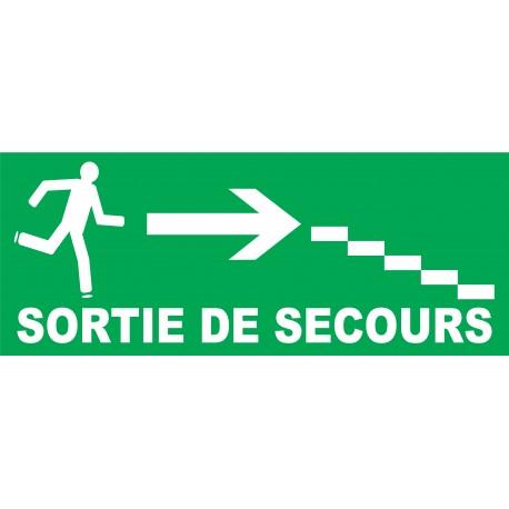 Panneau Sortie de secours à droite avec escaliers