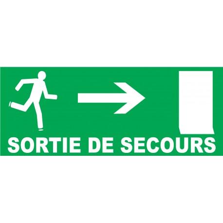 Panneau Sortie de secours à droite avec porte