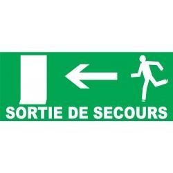 Panneau Sortie de secours à gauche avec porte