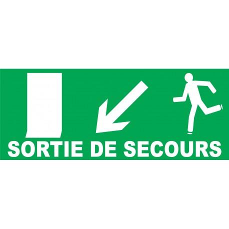 Panneau Sortie de secours à gauche en bas avec porte