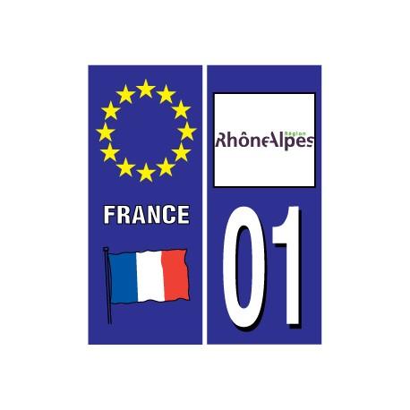 Sticker pour plaque d'immatriculation département 01