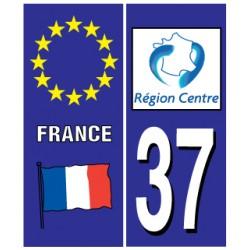 Sticker pour plaque d'immatriculation département 37