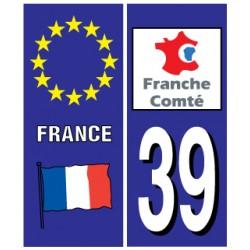 Sticker pour plaque d'immatriculation département 39