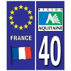 Sticker pour plaque d'immatriculation département 40