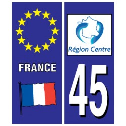 Sticker pour plaque d'immatriculation département 45