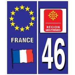 Sticker pour plaque d'immatriculation département 46