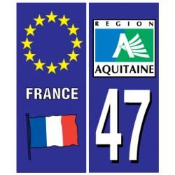 Sticker pour plaque d'immatriculation département 47