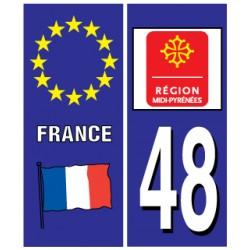 Sticker pour plaque d'immatriculation département 48