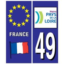 Sticker pour plaque d'immatriculation département 49