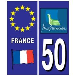 Sticker pour plaque d'immatriculation département 50