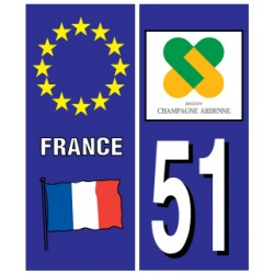 Sticker pour plaque d'immatriculation département 51