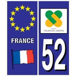Sticker pour plaque d'immatriculation département 52