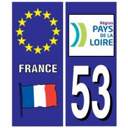 Sticker pour plaque d'immatriculation département 53