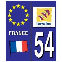Sticker pour plaque d'immatriculation département 54