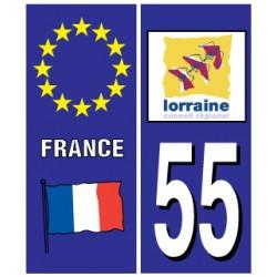 Sticker pour plaque d'immatriculation département 55
