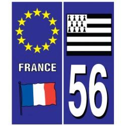 Sticker pour plaque d'immatriculation département 56