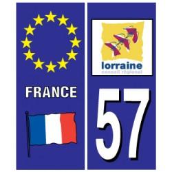 Sticker pour plaque d'immatriculation département 57