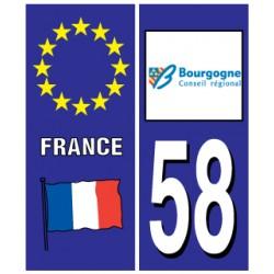 Sticker pour plaque d'immatriculation département 58