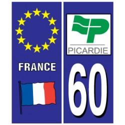Sticker pour plaque d'immatriculation département 60