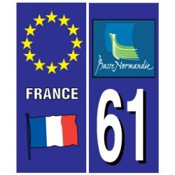 Sticker pour plaque d'immatriculation département 61