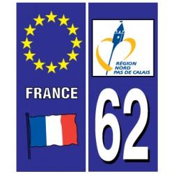 Sticker pour plaque d'immatriculation département 62