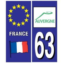 Sticker pour plaque d'immatriculation département 63
