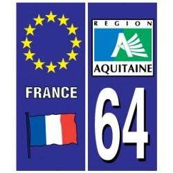 Sticker pour plaque d'immatriculation département 64