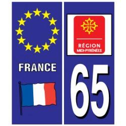 Sticker pour plaque d'immatriculation département 65