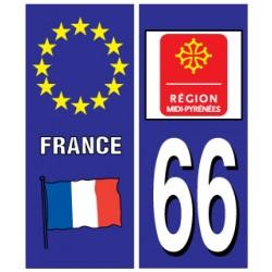 Sticker pour plaque d'immatriculation département 66