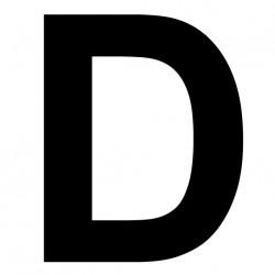 """Lettre adhésive """"D"""" Hauteur 180mm"""
