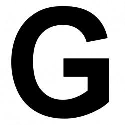 """Lettre adhésive """"G"""" Hauteur 180mm"""