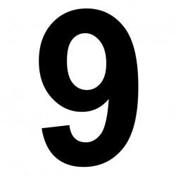"""Chiffre adhésive """"9"""" Hauteur 180mm"""