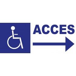 Panneau accès handicapés direction droite