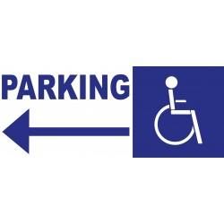 Panneau parking handicapés direction gauche
