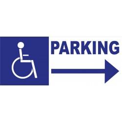 Panneau parking handicapés direction droite