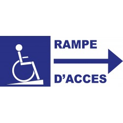 Panneau rampe d'accès handicapés direction droite