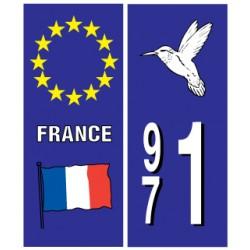 Sticker pour plaque d'immatriculation département 971